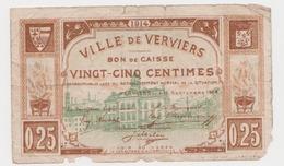 Verviers 1914 Guerre 14/18 Bon De Caisse De 25 Centimes Remboursable Lors Du Rétablissement De La Situation / RARE - [ 3] Occupazioni Tedesche Del Belgio
