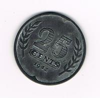 -&  NEDERLAND  25 CENTS  1942  WILHELMINA - 25 Cent