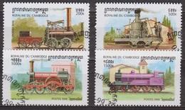 Transports - Chemins De Fer - CAMBODGE - Locomotives à Vapeur - N° 1589-1590-1592-1593 - 1999 - Cambodge