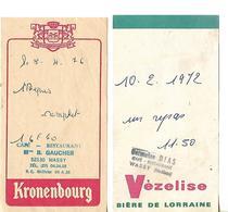 2facturettes / 52 WASSY / Café Restaurant / GAUCHER Pub Bière KRONENBOURG / DIAS Pub Bière VEZELISE - Facturas