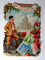 CHROMO DECOUPI .....LA FRANCE...HOMME...... VÉLO ...TIMBRES POSTE - Découpis