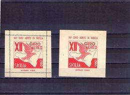Sicilia Palermo  Lotto Di 2 Erinnofili Del 12° Giro Aereo Di Sicilia   Uno Dentellato  Il Secondo  Non  Dent - Erinnofilia