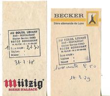 2 Facturettes / 52 SONCOURT  Bar Restaurant / Au Soleil Levant / Pub Bière BECKER MUTZIG - Invoices