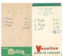 2 Facturettes / 52 Joinville / Hôtel Moderne G. RICHARD / Pub Bière MUTZIG VEZELISE - Facturas