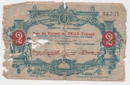 STEMBERT 1914 Guerre 14/18 Bon De Caisse De 2 Francs Remboursable Lors Du Rétablissement De La Situation / RARE - [ 3] Occupazioni Tedesche Del Belgio