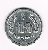 -&  CHINA PEOPLES REPUBLIC  5 FEN 1976 - Chine