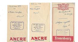 3 Facturettes / 52 BIENVILLE / Café Hôtel Restaurant De La Gare /M. LAURENT / Pub Bière ANCRE KRONENBOURG - Facturas