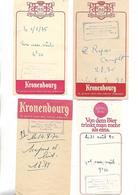 4 Facturettes / 52 BRETENAY/ Relais Routier MERLIN / Pub Bière SCHLOSS BRAU KRONENBOURG - Invoices