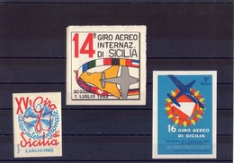 Sicilia Palermo  Lotto Di 3 Erinnofili Del 14°+ 15° + 16°  Giro Aereo Di Sicilia . Nuovi Con Colla - Cinderellas