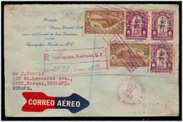 HONDURAS. 1933 (21 Oct). Tegucigalpa - UK. Reg Air Multifkd Ovptd Official Env. Arrival Cds. Internal Stamp. - Honduras