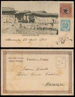 KOREA. 1903 (22 Aug). Masampo. Local Fkd PPC Proper Rate Mixed Issues Not Cancel As Sent To Italian Roayl Navy Ship Cala - Korea (...-1945)