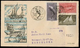 E-IFNI. 1958 (23 Nov). Sidi Ifni - Barcelona. Sobre FDC Franqueo Circulado Con Llegada / Shanks / Sailing Ships. - Unclassified