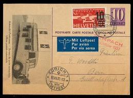 Switzerland - Stationery. 1937 (12 July). Sempach - Bern. 10c Ilustrated Stat Card + Adtl. Airmail. Nice Cond. - Ohne Zuordnung