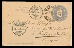 Argentina - Stationery. 1900. Bahia Blanca - Switzerland. 6c Stat Card + Arrival Alongside. Fine. - Argentina