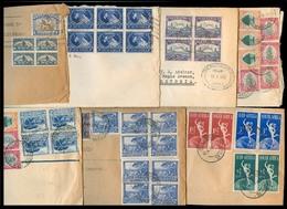 SOUTH AFRICA. 1935-48. Mail To UK. 8 Diff Massive Fkd Env / Reg / Blocks Multiples. - Afrique Du Sud (1961-...)