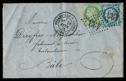 FRANCE. 1876. Bellville S - Saone - Switzerland. Fkd EL 25c + 5c Tied. Fine. - France