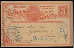 COSTA RICA. 1896. S Jose - Germany. 3c Red Stat Card / Fine Used. - Costa Rica