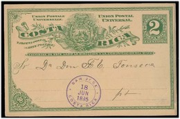 COSTA RICA. 1895. San Jose. Local Used 2c Green Stat Card. German Society Group. VF. - Costa Rica