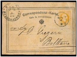 ITALY. 1875. Aner / Ora - Bolzano. 1867 Bilingual Italian Austria 2kr Sat Card / Cds. Via Bozen Stat Scarce. - Italy