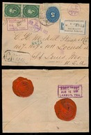 MEXICO. 1892 (12 Aug). DF - USA. Reg AR Multifkd Env, Bearing 5 Numeral + 10c Medalion Imperforate Pair, Tied Cds + Seve - Mexico