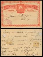 HONDURAS. 1891. Guamaica - Cedros. 2c Red Stat Card Used VF Scarce. - Honduras