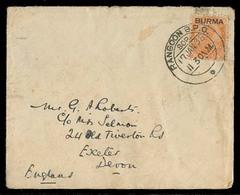 BURMA. 1938 (17 Jan). Rangoon - Devon. Fkd Ovptd Issue Small Env. - Burma (...-1947)