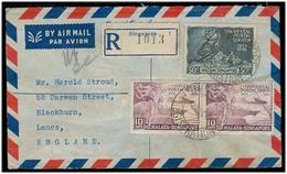 STRAITS SETTLEMENTS SINGAPORE. 1949 (2 Dec). Singapore - UK / Lanc. Air Reg Multifkd Malaga - Singapore Issue UPU Env. F - Singapore (1959-...)