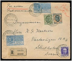 Italy - XX. 1929. Abbazia / Fiume - Sweden. Reg Air Mail Multifkd Env 5l 25c Rate + Comb Issues + Transits. VF Scarce Us - Italy