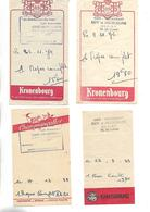 4 Facturettes / 52 BLAISY / Chez GUY Et JACQUELINE / Pub Bière  KANTERBRAU KRONENBOURG CHAMPIGNEULLES - Facturas
