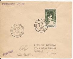 ENVELOPPE PREMIER JOUR 1950 LYON R P DEPART RHONE MADAME RECAMIER - FDC