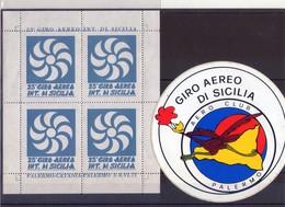 Sicilia Palermo  Lotto Di 1 Erinnofili Del 25°  Giro Aereo Di Sicilia +  Adesivo  Aereo Club - Erinnofilia