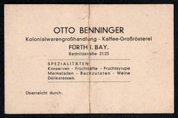 C3772 - Otto Benninger - Kaffe Rösterei Kolonialwaren - Fürth - Visitenkarten