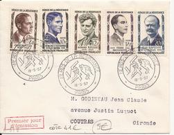 LOT DE 2 ENVELOPPES PREMIER JOUR HEROS DE LA RESISTANCE PARIS 1957 ET 1960 - FDC