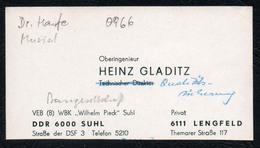 C3776 - WBK Wilhelm Pieck Suhl - Heinz Gladitz - Ingenieur - DDR - Visitenkarten