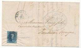 1854  BRIEF COB 7 V. BRUXELLES N. FOTAINE L'EVEQUE AANKOMSTSTEMPEL Zie Scan(s) - 1851-1857 Medaillons (6/8)