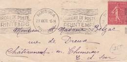 50c Semeuse Lignée S /  Env  T.P.Paris 96A PRINTEMPS 29 XII 28 - 1921-1960: Période Moderne