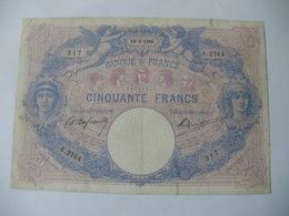 BILLET 50 F BLEU ET ROSE  29/09/1905 FAY 14/17 - 50 F 1889-1927 ''Bleu Et Rose''