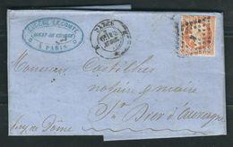 FRANCE 1858 N° 16 S/Lettre Entière (def.) Obl. Paris Bureau K - 1853-1860 Napoleone III