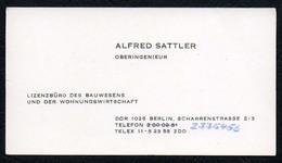 C3777 - Berlin - Alfred Sattler - Ingenieur Bauwesen - DDR - Visitenkarten