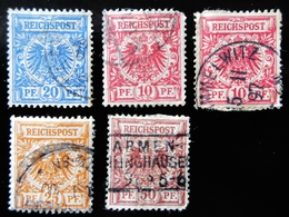 1889 REICHSPOST / DEUTSCHES REICH 5 Valeurs Oblitérés Used - Usados