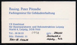 C3778 - VE Kombinat Rekonstruktion Leipzig - Peter Pötzsche - Ingenieur - DDR - Cartoncini Da Visita