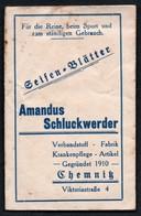 C3779 - Chemnitz - Amandus Schluckwerk - Orig. Seife Seifenblätter Mit Gebrauchsanweisung - Werbung Reklame - Beauty Products
