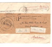 SJ48/ Enveloppe Réutilisée Commissie Vergoedings Pensionen Recom.c.Antwerpen 1947 étiq.non Réclamé/Retour/maison Fermée - Flammes