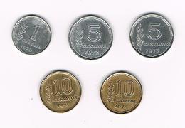 -&  ARGENTINA  1 En 2 X 5 En  2 X 10  CENTAVOS  1970/72/73 En 1971/74 - Argentine