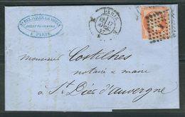 FRANCE 1857 N° 16 S/Lettre Entière (def.)  Obl. Paris Bureau K - 1853-1860 Napoleone III