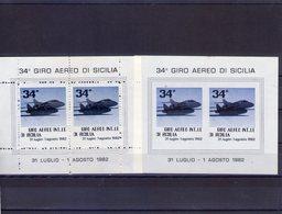 Sicilia Palermo   2 Foglietti  Erinnofili Del 34°  Giro Aereo Di Sicilia   Dentellato  +  Non Dentellato - Erinnofilia