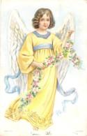 Superbe Ange Au Ruban De Fleurs Entièrement Gaufré En Relief Embossed Card - Autres
