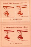 Sicilia Palermo   2 Foglietti  Erinnofili Del 36°  Giro Aereo Di Sicilia   Dentellato  +  Non Dentellato - Erinnofilia