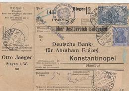 Allemagne Bulletin D'expédition Siegen Pour Constantinople 1916 - Alemania