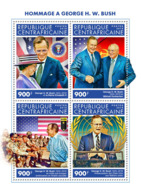 Central Africa 2018    George W. Bush ,Queen Elisabeth II; Mikhail Gorbachev  S201902 - Central African Republic